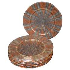 Nash chintz decorated art glass plates