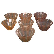 Nash chintz decorated art glass bowls