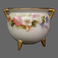 Royal Worcester hand painted miniature floral vase handled kettle form