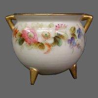 Royal Worcester hand painted miniature floral vase handled kettle form