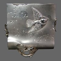 Victorian Pairpoint silver plate figural bird letter holder