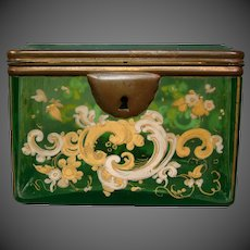Antique green yellow enameled glass jewelry or dresser box scrolling flowers leaves