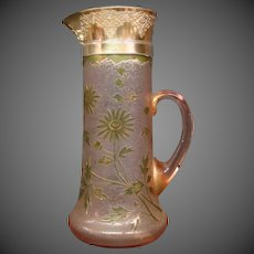 Honesdale cameo acid cut back peach pink floral enamel gilded tall pitcher tankard