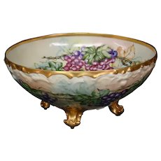 Limoges Tresseman Vogt hand painted grapes footed punch bowl