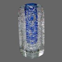 Frantisek Vizner Bohemian art glass whirlpool cobalt blue paperweight vase