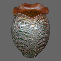 Durand green moorish crackle large art glass shade lamp or torchiere