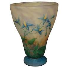 Daum Nancy French cameo glass blue floral art glass vase signed
