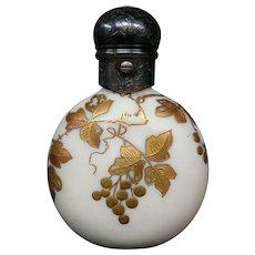 Webb enameled art glass lay down perfume bottle butterfly dragonfly