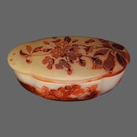 Emile Galle French cameo glass red yellow floral covered oblong box signed