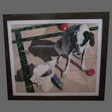 Larry Holmes dog pastel painting titled In The Lurch signed dated