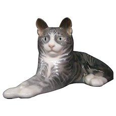 Royal Copenhagen porcelain grey tiger striped cat figurine 1025/332 RARE Erik Nielsen