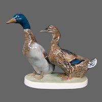 Rosenthal porcelain figurine pair mallard ducks W Zugel LARGE
