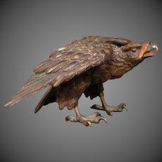 Antique Austrian cold painted bronze eagle sculpture