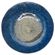 Steuben cluthra blue and white art glass plate