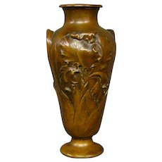 Susse Freres Paris bronze iris vase artist signed D Simon foundry mark