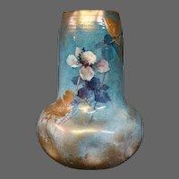 Clement Massier French art pottery floral vase art nouveau signed Golfe Juan