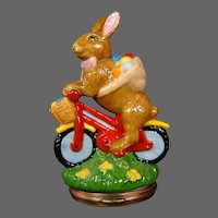 Halcyon Days enamel Easter Bunny on bicycle 2004 figural covered trinket box