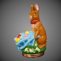 Halcyon Days enamel Easter Bunny with wheelbarrow 2005 figural covered trinket box