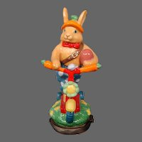 Halcyon Days enamel Easter Bunny on scooter 2006 figural covered trinket box