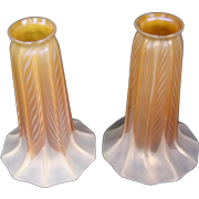 Quezal gold pulled feather pair art glass tulip lily shades signed