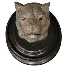 Antique wild cat lion head inkwell glass eyes ebonized wood base