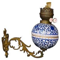 Antique German imari porcelain oil font lamp wall sconce