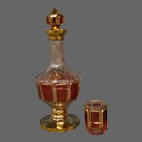 Moser cranberry ruby cabochon panel art glass decanter and glass set