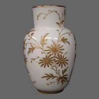 English porcelain gilded enameled floral design vase