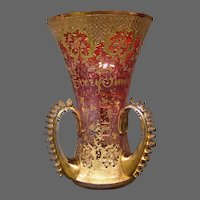 Antique Moser art glass enameled gilded three handled loving cup with verse