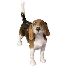 Hutschenreuther beagle English foxhound Kunstabteilurg Selb dog figurine original sticker