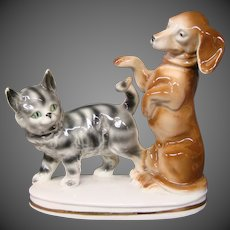 Erphila Germany dachshund tabby cat figurine 8659