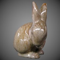Austrian red glaze clay pottery rabbit figurine