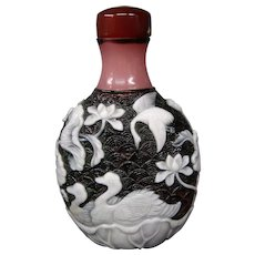 Peking cameo glass triple overlay fishscale background storks ducks snuff bottle lotus