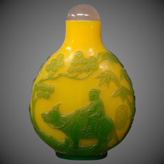 Peking cameo glass man on ox snuff bottle chartreuse green jade yellow