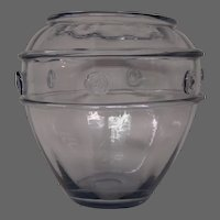 Steuben wisteria rare form art glass vase applied prunts rings shape 6427