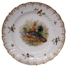 KPM porcelain Dresden Lamm hand painted plate turkey chicken