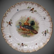KPM porcelain Dresden Lamm hand painted plate turkey chicken