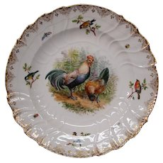 KPM porcelain Dresden Lamm hand painted plate chickens insects