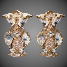 Old Paris porcelain pair rococo style decorated hand painted  vases