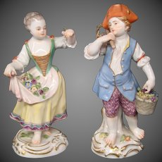 Meissen antique porcelain figurines of young man and woman First Quality