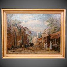 Orientalist theme oil painting of Casablanca artist signed Amade Bernardo