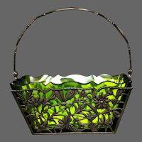 Antique art nouveau green glass silverplate basket dragonfly butterfly birds hallmarked