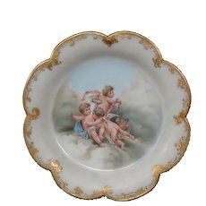 Antique Moser opaline glass enameled cupids roses  art glass plate