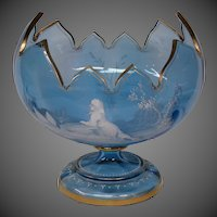 Mary Gregory Victorian enameled art glass sapphire blue footed centerbowl