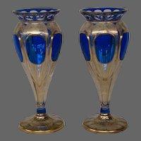Moser cobalt blue gilded overlay cabochon medallion pair art glass vases