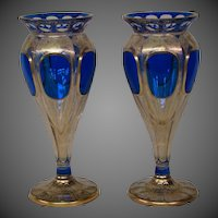 Moser cobalt blue gilded overlay cabochon medallion pair art glass vases