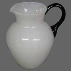 Steuben alabaster mirror black footed art glass pitcher form 6232 original sticker