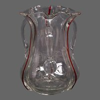 Antique English art glass ruby crystal three handled loving cup