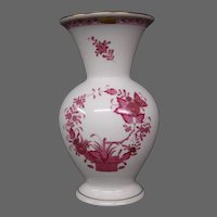 Herend porcelain Indian Basket raspberry tall vase Hungary