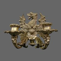 Antique bronze pair winged griffin Old Man of North wall sconces silvered